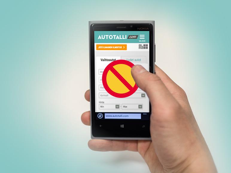 Autotalli.com -palvelu ei tue vanhempia Internet Explorer -selaimia eikä Lumia-puhelimia