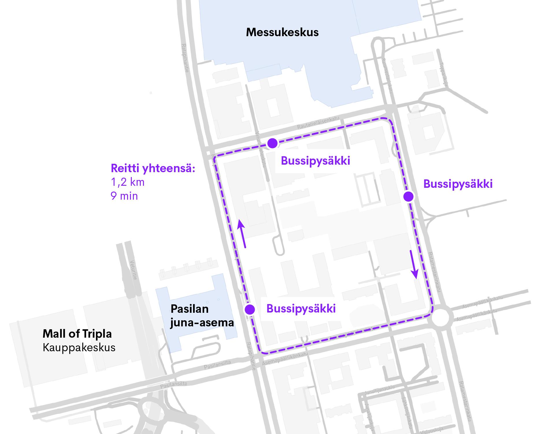 Robottibussin reitti Helsingissä